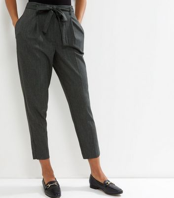 Dark Green Tie Waist Cropped Trousers New Look