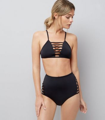 Black Lattice Front Bikini Top New Look