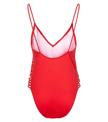 Red Lattice Side Plunge Swimsuit New Look