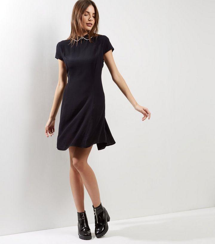 Black Contrast Trim Collared Skater Dress New Look