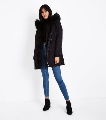 Black Faux Fur Lined Hooded Parka New Look