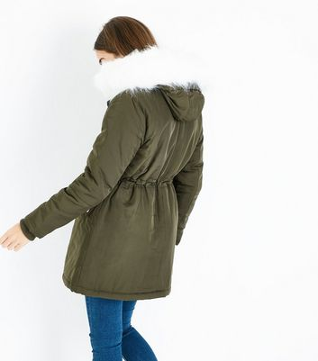 Olive Green Faux Fur Lined Hooded Parka New Look