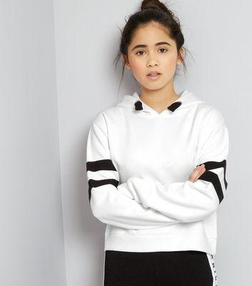 Teens White Contrast Stripe Hoodie New Look