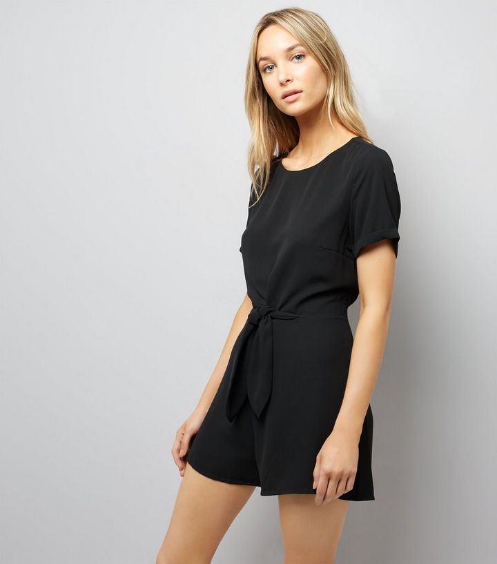62667eb388 Black Tie Front Short Sleeve Playsuit
