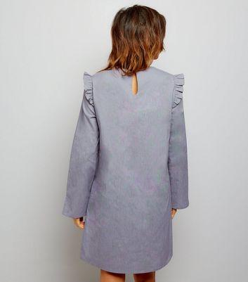 Dark Grey Frill Trim Long Sleeve Cotton Tunic Dress New Look