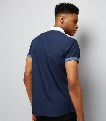 Navy Contrast Trim Short Sleeve Shirt New Look