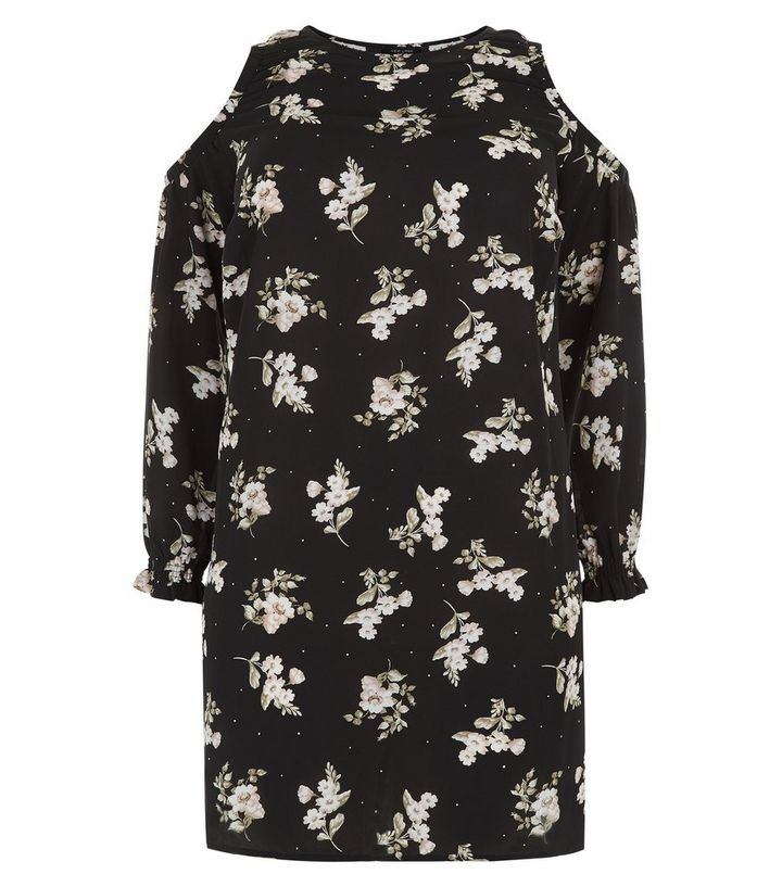 baa2b970526 ... Black Floral Print Cold Shoulder Tunic Dress. ×. ×. ×. Shop the look