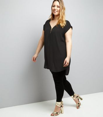 Curves Black Zip Front Tunic New Look