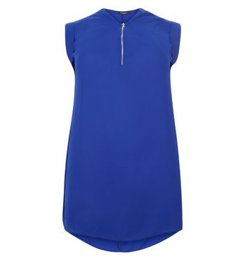 Curves Bright Blue Zip Front Tunic New Look