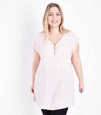 Curves Pink Zip Front Tunic New Look