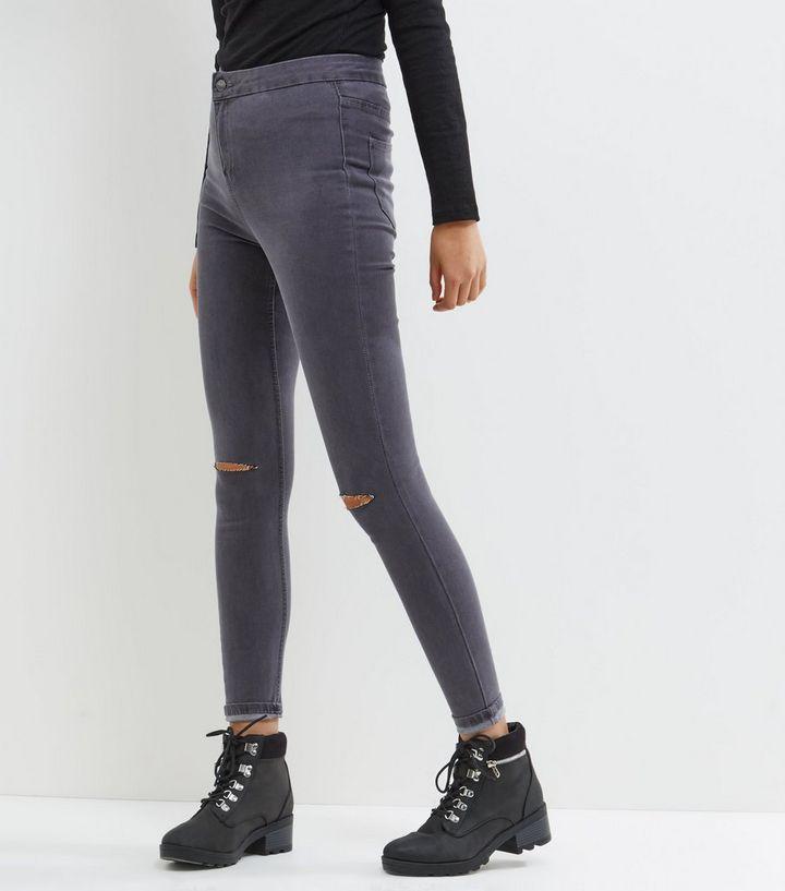 2693f3a9a49612 Dark Grey Ripped Knee High Waist Super Skinny Hallie Jeans | New Look
