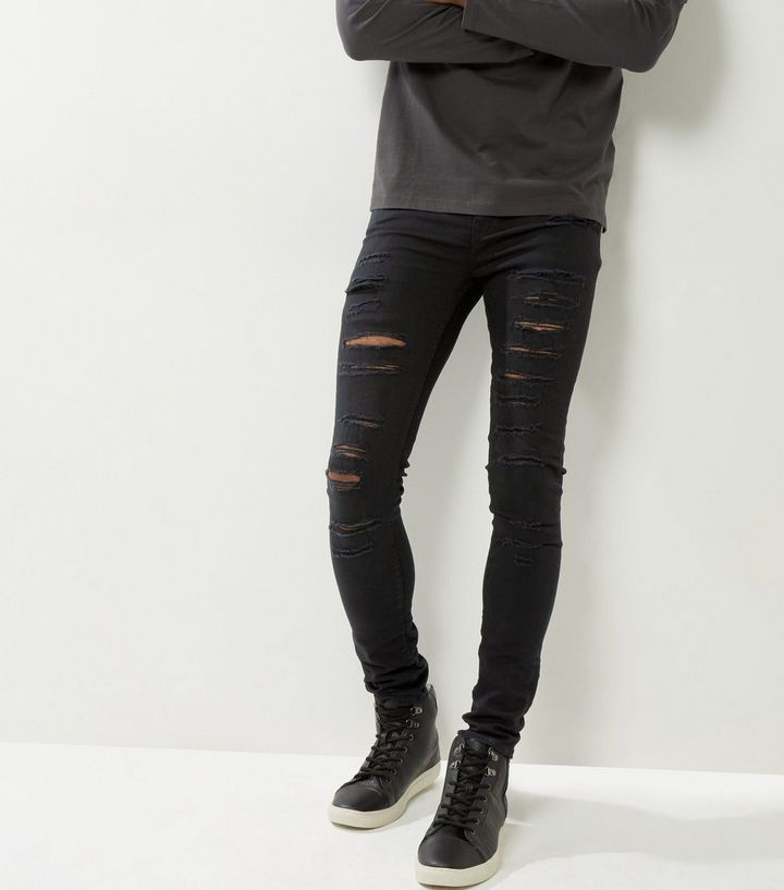 d9f2c571918 Black Extreme Ripped Super Stretch Skinny Jeans | New Look