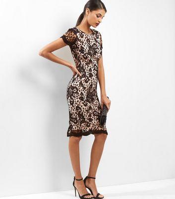 AX Paris Black Floral Lace Bodycon Midi Dress New Look