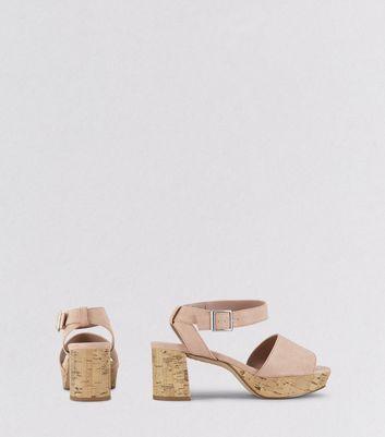 Teens Pink Suedette Cork Heels New Look