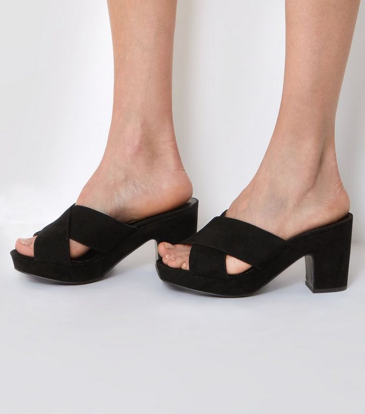 4d13d28ef9d Wide Fit Black Cross Front Platform Mules Add to Saved Items Remove from  Saved Items