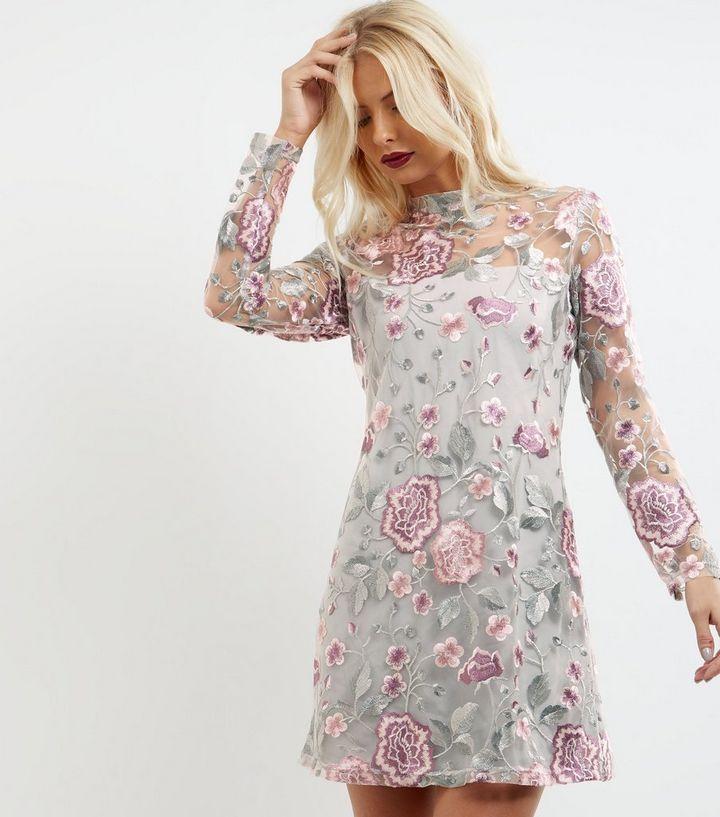 3b4232ac965 Grey Premium Embroidered Mesh High Neck Tunic Dress | New Look