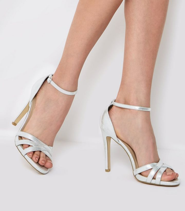 d0774edf28 Silver Ankle Strap Heeled Sandals | New Look