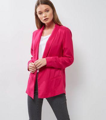 Bright Pink Longline Blazer New Look