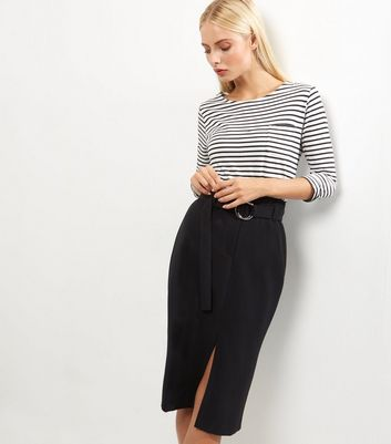 Black Belted Midi Pencil Skirt New Look
