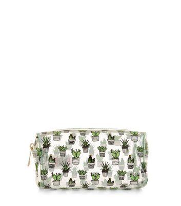 Green Cactus Make Up Bag New Look