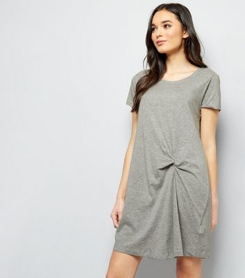 JDY Grey Knot Front Short Sleeve Dress New Look