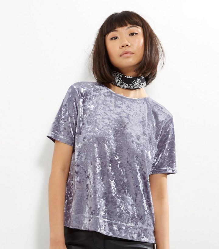 6f1edc9a Grey Crushed Velvet T-Shirt | New Look