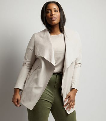 Curves Mink Leather Look Waterfall Jacket New Look