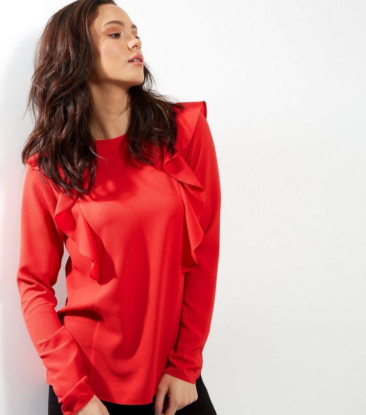 Tall Red Frill Trim Long Sleeve Top  df45143bd