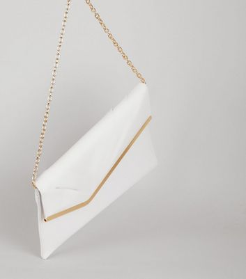 White Snakeskin Texture Metal Trim Clutch New Look