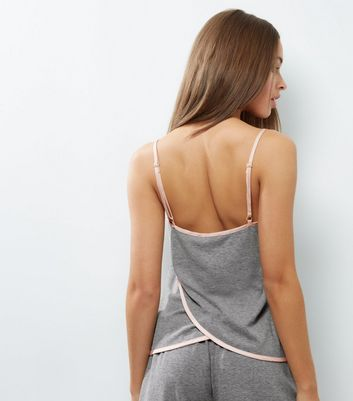 Pale Grey Brushed Sateen Trim Wrap Back Lounge Cami New Look