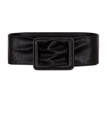 Black Wide Leather-Look Waist Belt New Look