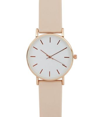 Pink Silicone Strap Watch New Look