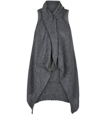 Mela Dark Grey Button Front Gilet New Look