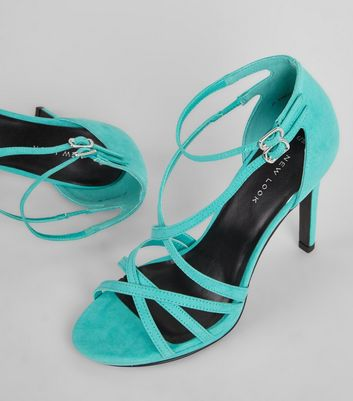 Green Suedette Cross Strap Heeled Sandals New Look