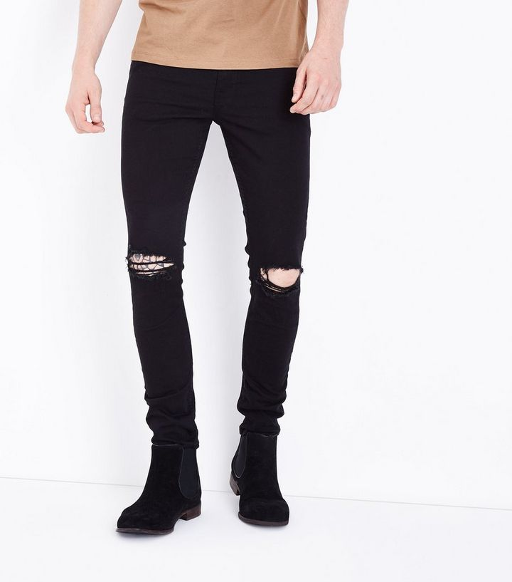 493b1a20001 Black Ripped Knee Stretch Skinny Jeans | New Look
