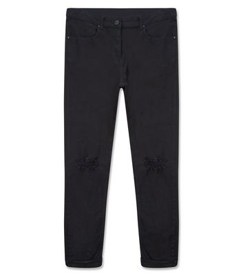 Black Ripped Knee Stretch Skinny Jeans New Look