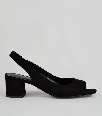 Black Peep Toe Slingback Heels   New Look