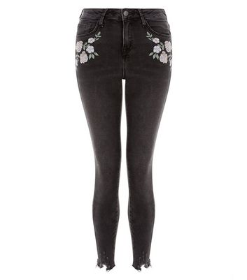 Black Fray Hem Embroidered Skinny Jenna Jeans New Look