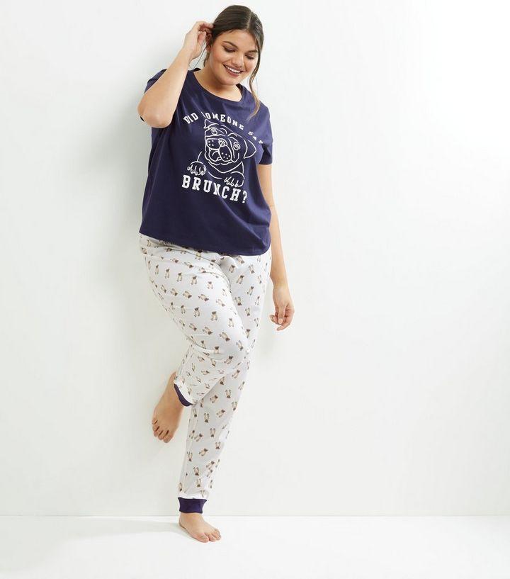 773b2bc1c Curves Navy Pug Slogan Pyjama Set