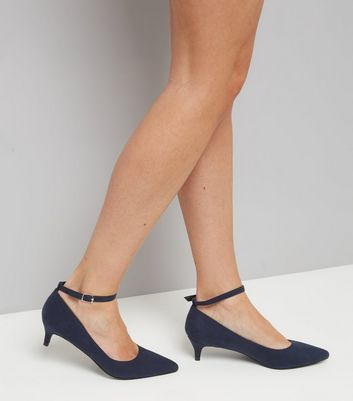 Navy Suedette Mid Heel Ankle Strap Court Shoes New Look