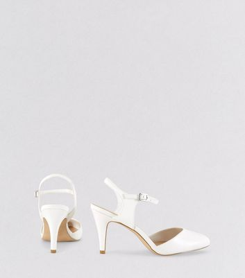 Wide Fit White Ankle Strap Heels New Look