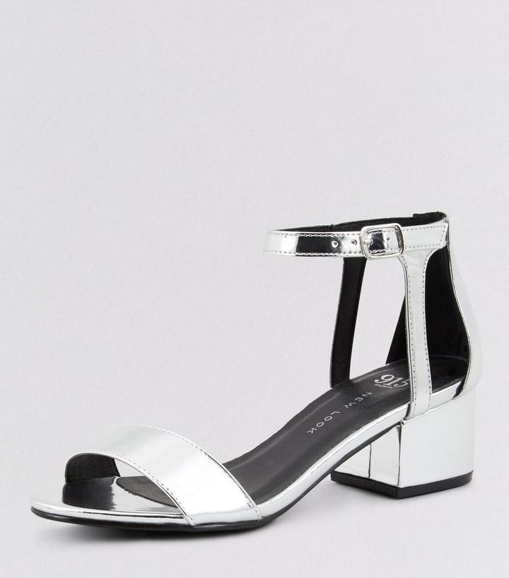 4c620a7e9d5 Teens Silver Ankle Strap Block Heels