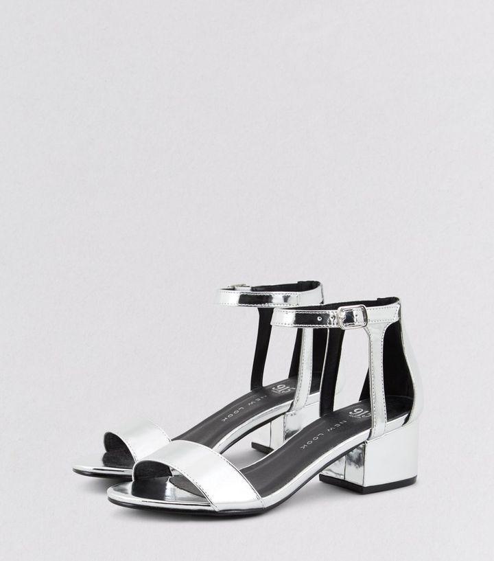 85a8adb794f ... Teens Silver Ankle Strap Block Heels. ×. ×. ×. VIDEO Shop the look