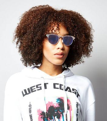 Blue Holograhic Retro Round Sunglasses New Look