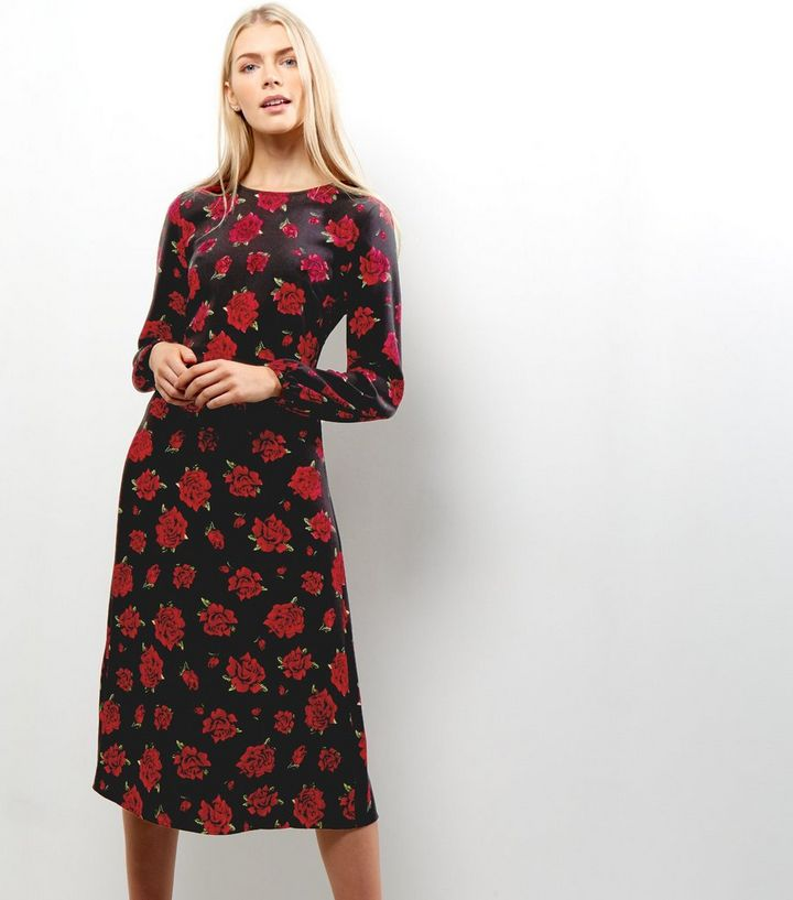c8e493b4305e7 Black Floral Print Long Sleeve Midi Dress   New Look