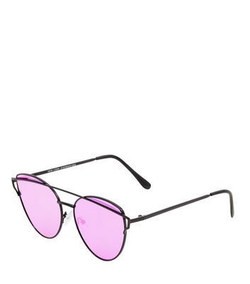 Black Tinted Bar Front Sunglasses New Look