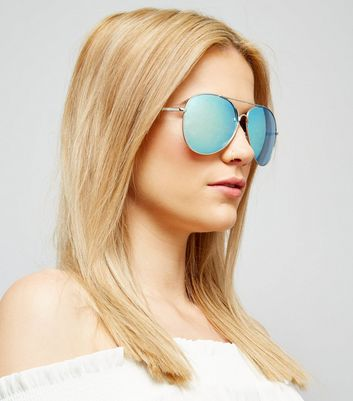 Blue Mirrored Pilot Sunglasses New Look