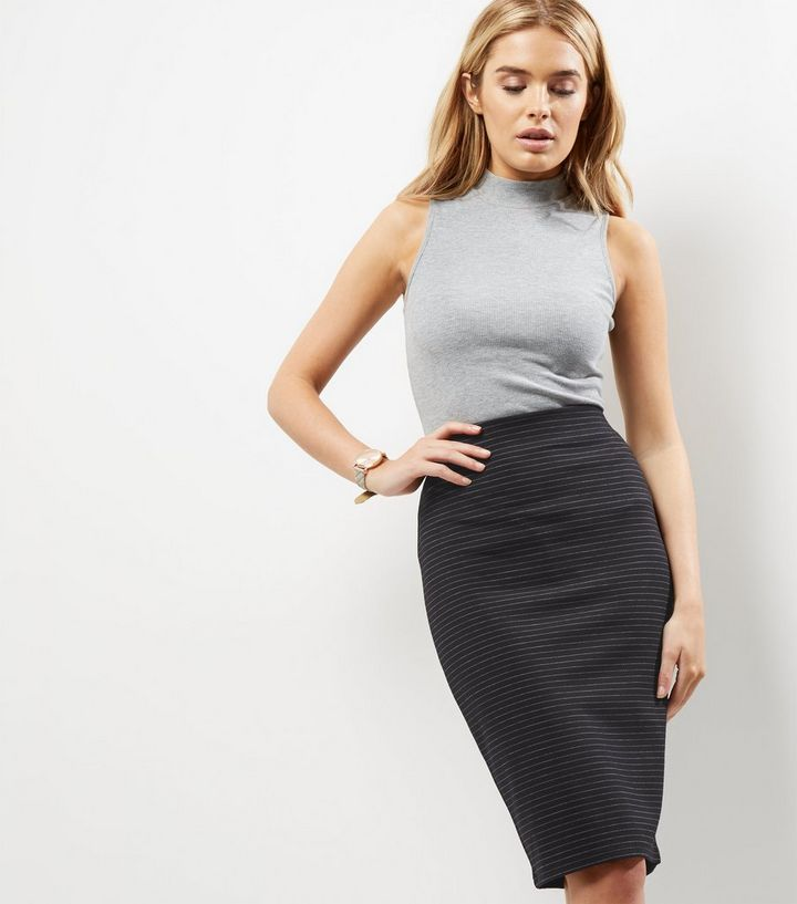 ed5089900 Black Pinstripe Print Midi Pencil Skirt | New Look