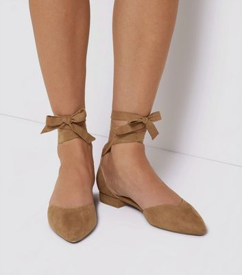 Mink Suedette Ankle Tie Pointed Flats