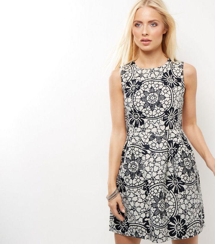 8e1c12d790 Blue Vanilla Black Floral Print Skater Dress
